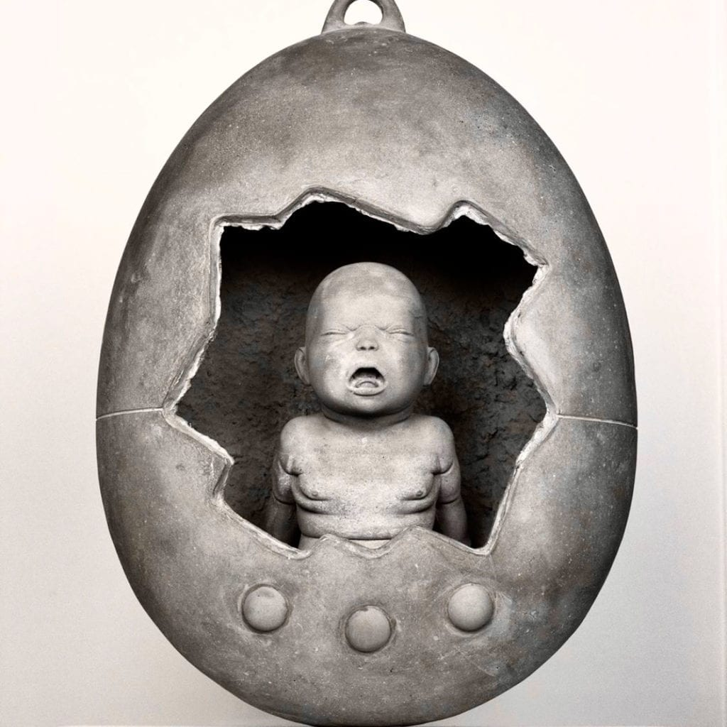 Tamagotchi Mama Sculpture baby in Egg Concrete 2019 Italian - Federico Clapis Sculptor