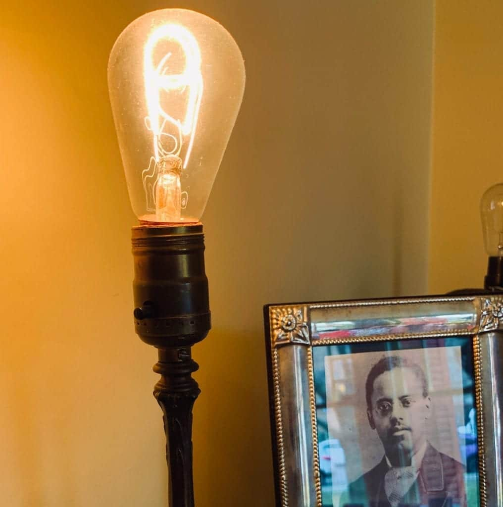 Carbon Filament incandescent lightbulb - in the Lewis Latimer House Museum