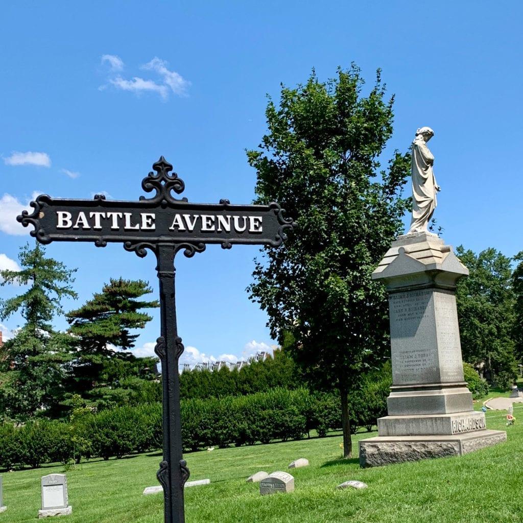 Historic Green-Wood Cemetery Battle Avenue street sign