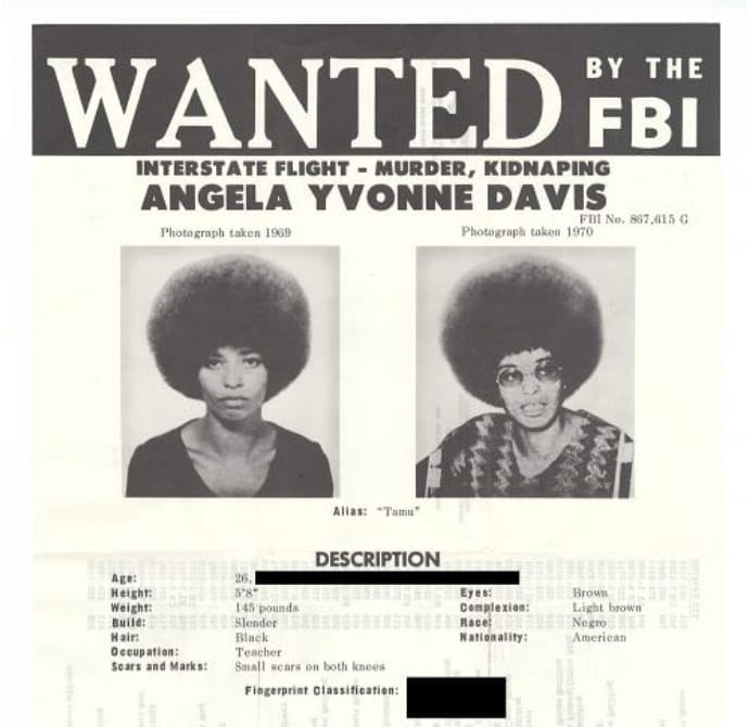 Angela Davis FBI 10 Most Wanted List