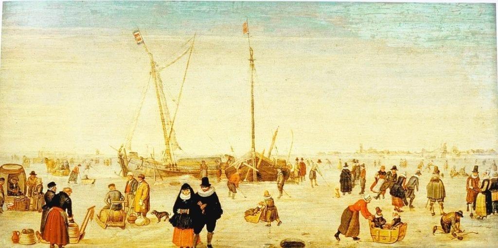 Frozen-River---Hendrick-Avercamp-1620--landscape oil painting