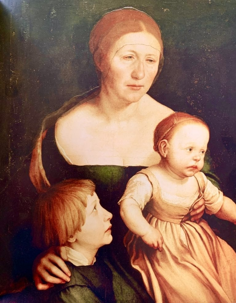 Portrait-of-the-Artists-Wife with Katherine and Philipp Hans Holbein 1528