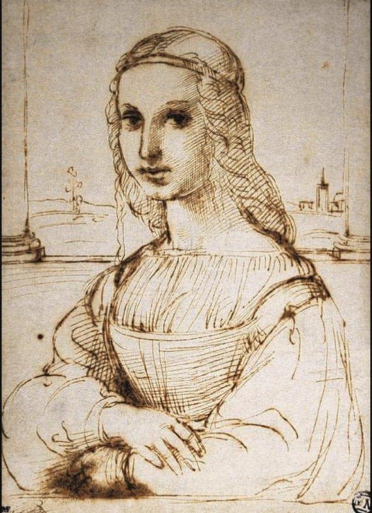 Lady With a Unicorn - Sketch by Raphael